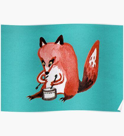 Drumming Fox Poster