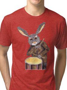 RABBIT ON DRUMS Tri-blend T-Shirt