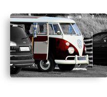 Bright Red VW Split Screen Camper Van Canvas Print