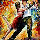 TANGO IN RED- OIL PAINTING BY LEONID AFREMOV by Leonid  Afremov