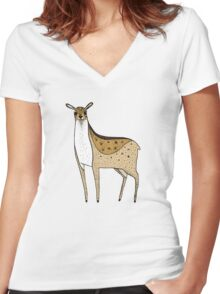 Deer Women's Fitted V-Neck T-Shirt