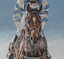 Racing in the snow - acrylic painting by Gina Hawkshaw