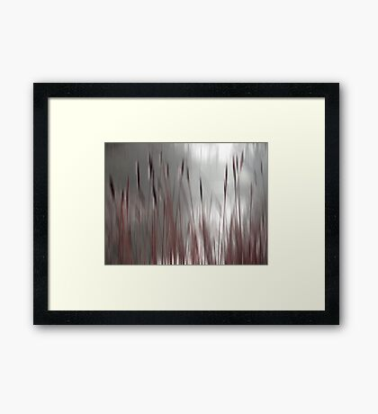 Reeds Abstract - red Framed Print
