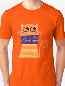 Girly Whimsical Cartoon Cat T-Shirt