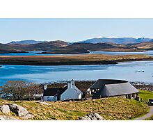 Landscape, Callanish standing stones visitor centre and Loch Ceann Huabhig Photographic Print
