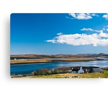 Landscape, Callanish standing stones visitor centre and Loch Ceann Huabhig Canvas Print