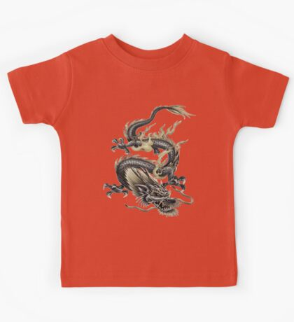 Lucky Chinese Dragon In Grey and Gold Kids Tee