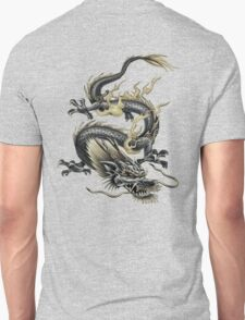 Lucky Chinese Dragon In Grey and Gold T-Shirt
