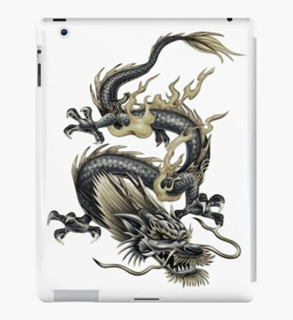 Lucky Chinese Dragon In Grey and Gold iPad Case/Skin