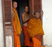 Young Monks Laos by Bob Christopher