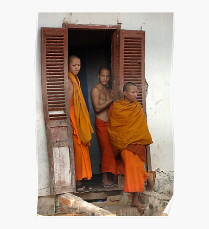 Young Monks Laos Poster