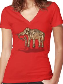Comparative anatomy - Elephant and man Women's Fitted V-Neck T-Shirt