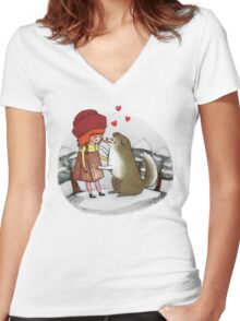 Red Riding Hat Women's Fitted V-Neck T-Shirt
