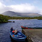 Ireland,  Boats on blue lake to Innisfallen Island  by Grace Johnson