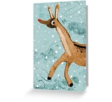 Frolicking Rudolph Greeting Card