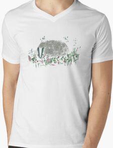 Badger In Grass Mens V-Neck T-Shirt
