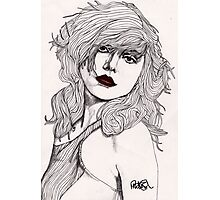 Debbie with Red Lips Photographic Print