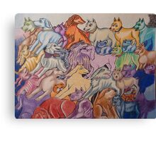 Dog Park with Cat Canvas Print