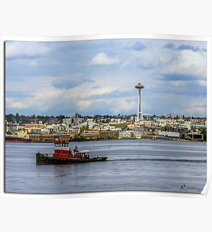 Space Needle and tugboat Poster
