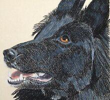 Belgian Shepherd Vignette by Anita Meistrell Putman