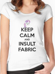 KEEP CLAM AND INSULT FABRIC Women's Fitted Scoop T-Shirt