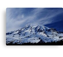 Rainier with wispy clouds Canvas Print