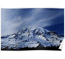 Rainier with wispy clouds Poster