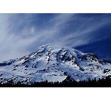 Rainier with wispy clouds Photographic Print