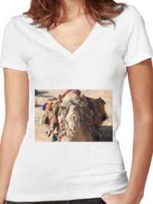 Close-up portrait of a camel, Negev, Israel Women's Fitted V-Neck T-Shirt