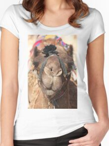 Close-up portrait of a camel, Negev, Israel Women's Fitted Scoop T-Shirt