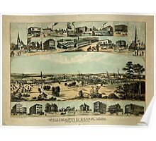 Panoramic Maps Willimantic Conn 1882 From Blake Mountain Wils Porter del  Charles Hart Lith NY Poster