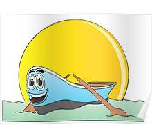 Blue Row Boat Cartoon Poster
