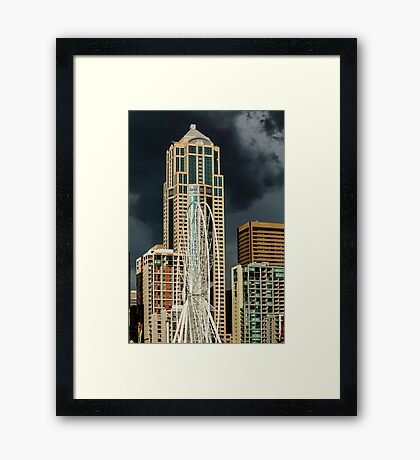 Seattle Ferris Wheel Under Construction with Stormy Skies Framed Print