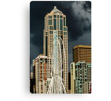 Seattle Ferris Wheel Under Construction with Stormy Skies Canvas Print