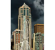 Seattle Ferris Wheel Under Construction with Stormy Skies Photographic Print