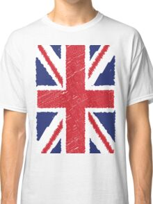UK Union Jack Scribble Abstract Flag Background Classic T-Shirt