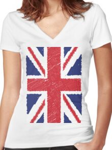 UK Union Jack Scribble Abstract Flag Background Women's Fitted V-Neck T-Shirt