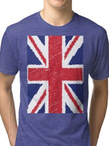 UK Union Jack Scribble Abstract Flag Background Tri-blend T-Shirt