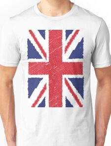 UK Union Jack Scribble Abstract Flag Background Unisex T-Shirt