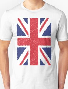 UK Union Jack Scribble Abstract Flag Background T-Shirt