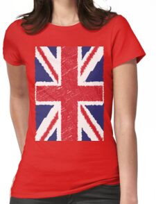 UK Union Jack Scribble Abstract Flag Background Womens Fitted T-Shirt