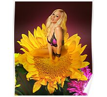 Courtney on a Sunflower Poster