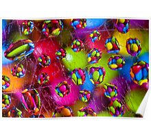 'Colourful Excitement', Smarties Reflections of the Rainbow. Macro Poster