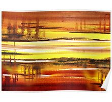 Warm Reflections Abstract Landscape Poster