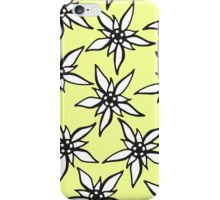 White & Black Hand Drawn Flowers on Yellow iPhone Case/Skin