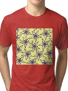 White & Black Hand Drawn Flowers on Yellow Tri-blend T-Shirt