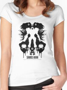 Samus Aran Metroid Geek Ink Blot Test Women's Fitted Scoop T-Shirt