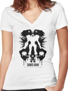 Samus Aran Metroid Geek Ink Blot Test Women's Fitted V-Neck T-Shirt