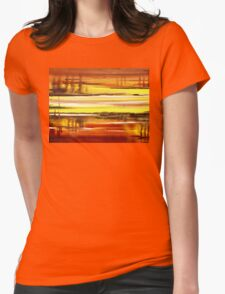 Warm Reflections Abstract Landscape Womens Fitted T-Shirt