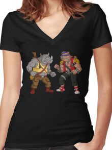 Bebop Rocksteady - Funny big print Women's Fitted V-Neck T-Shirt